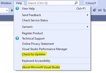 The unfolded help menu in Visual Studio